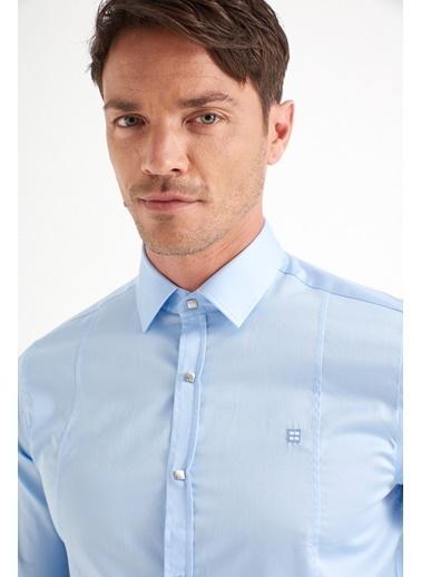 Avva Erkek  Düz Klasik Yaka Slim Gömlek B002217 Mavi